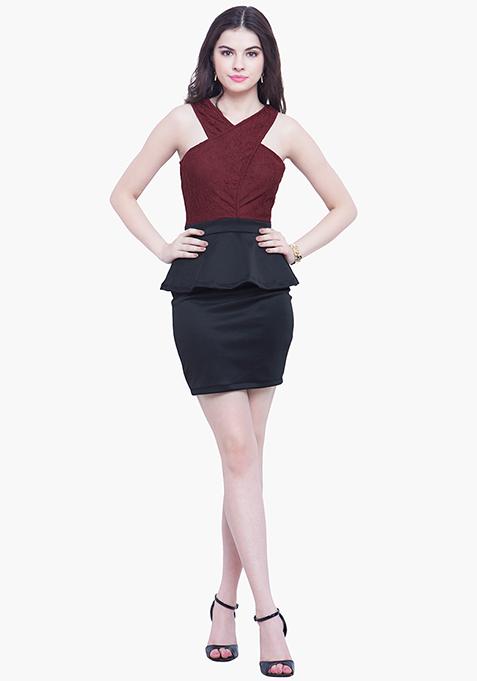 Halter Siren Peplum Dress - Oxblood