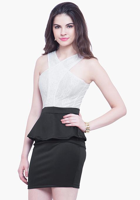 Halter Siren Peplum Dress - Monochrome