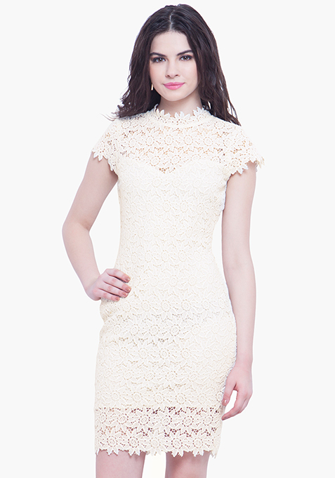 High Neck Crochet Dress - White
