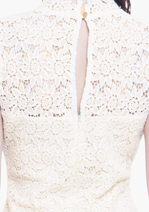 High Neck Crochet Dress - White