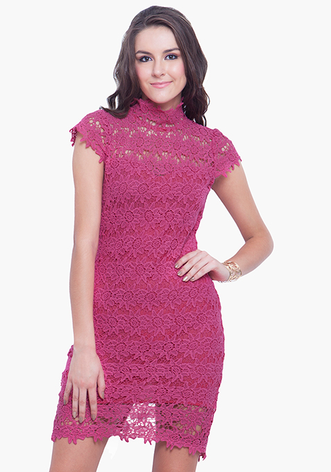 High Neck Crochet Dress - Pink