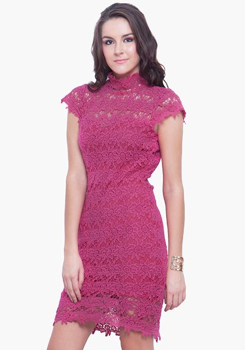High Neck Crochet Dress - Pink