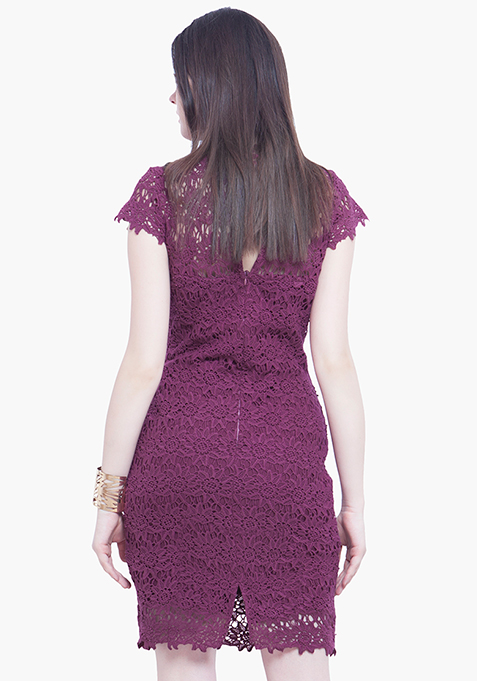 High Neck Crochet Dress - Purple