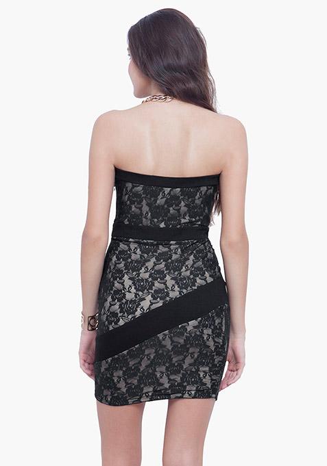 Glam Lace Tube Dress - Black Nude