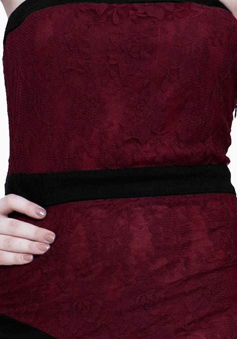 Glam Lace Tube Dress - Oxblood