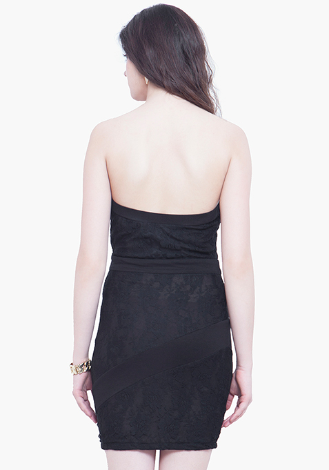 Glam Lace Tube Dress - Black