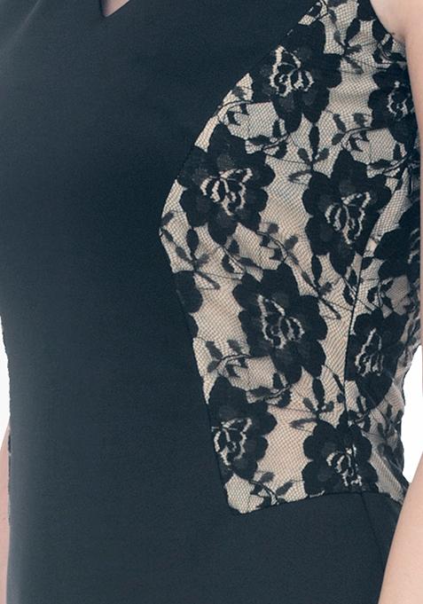 Lace Sides Bodycon Dress - Black