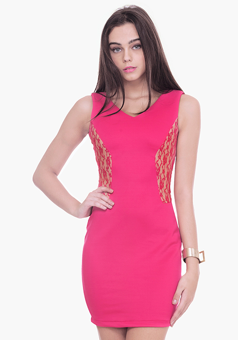 Lace Sides Bodycon Dress - Pink