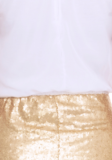 Glimmer  Blouson Dress - Ivory
