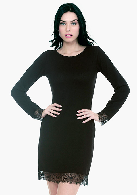 Lace Sweater Dress - Black