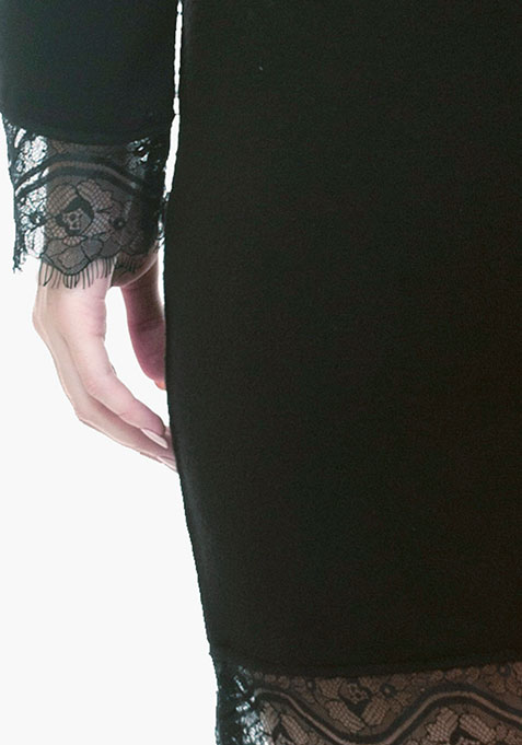 Lace Sweater Dress - Black