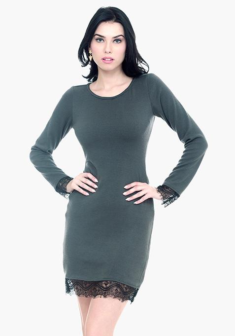 Lace Sweater Dress - Grey