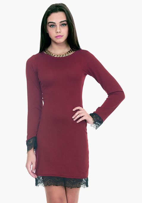 Lace Sweater Dress - Oxblood