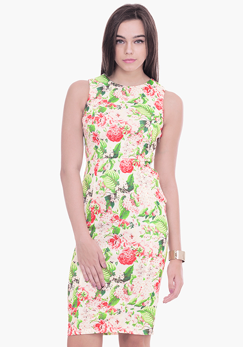 Light Floral Scuba Midi Dress