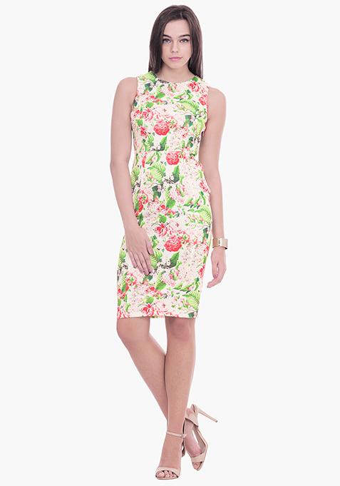 Light Floral Scuba Midi Dress
