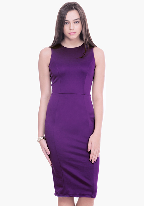 Purple Scuba Midi Dress