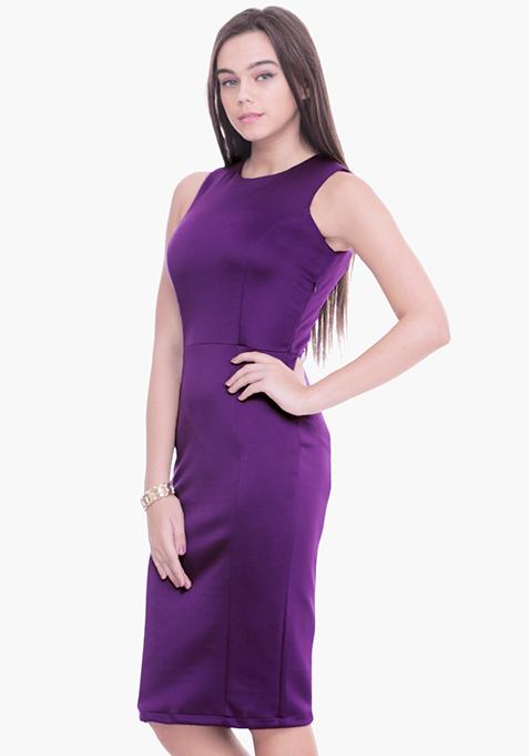 Purple Scuba Midi Dress