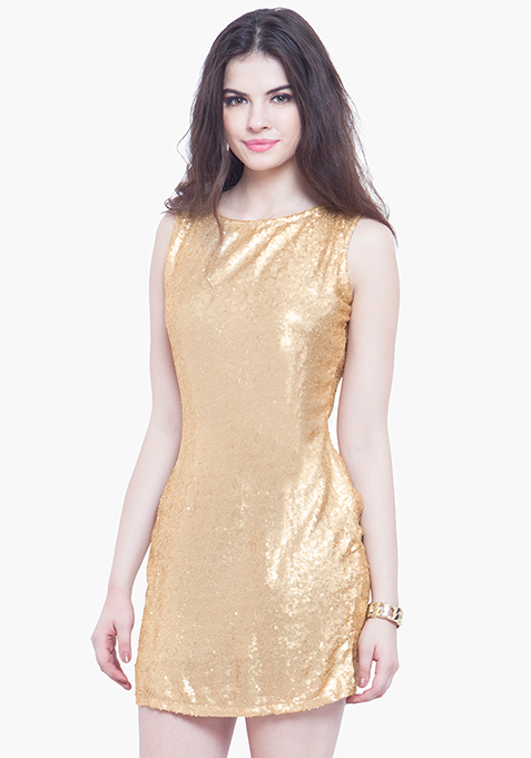 Glam On Sequin Dress - Gold