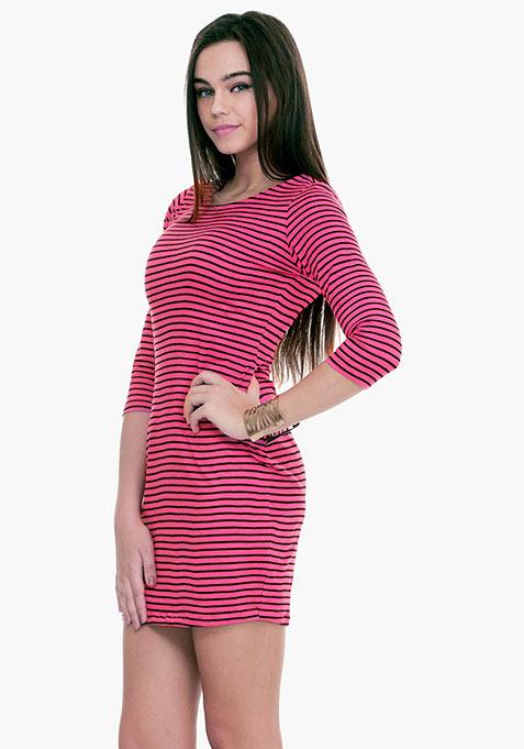 Striped Sense T-Shirt Dress - Pink
