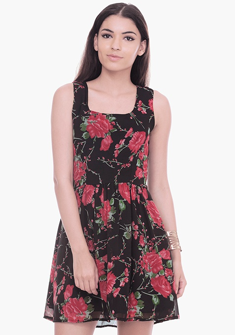 Dusky Red Floral Skater Dress