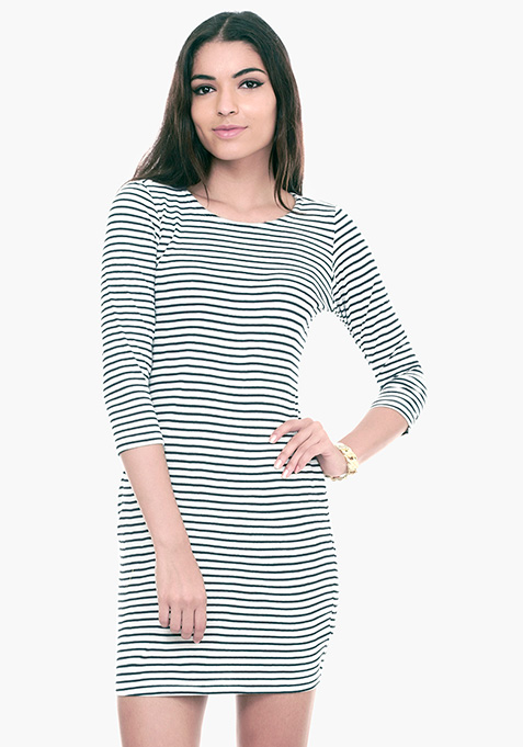 Striped Sense T-Shirt Dress - White
