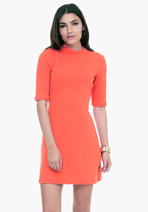 Mod Squad A-Line Dress - Coral