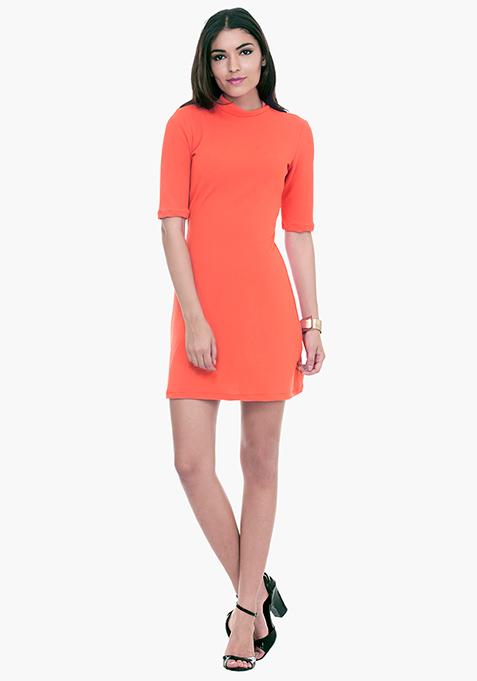 Mod Squad A-Line Dress - Coral
