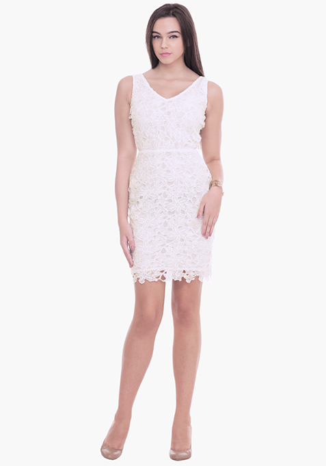 Lacy Miss Mini Dress - White