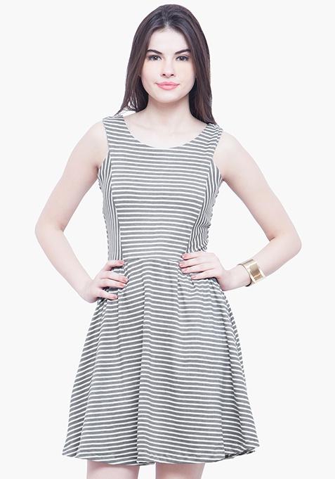 Striped Jersey Skater Dress