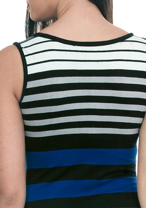 Split Stripe Maxi Dress - Blue