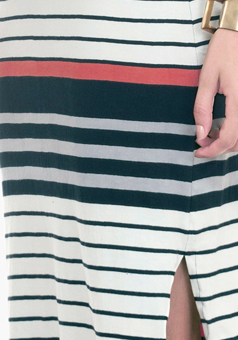 Split Stripe Maxi Dress - Coral