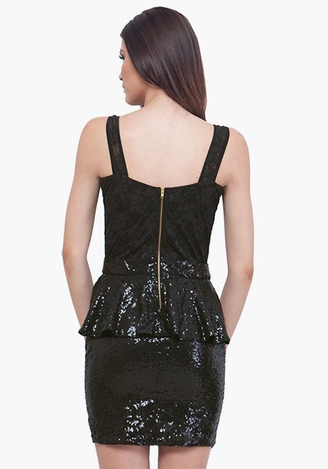 Sequin Sparkle Peplum Dress - Black