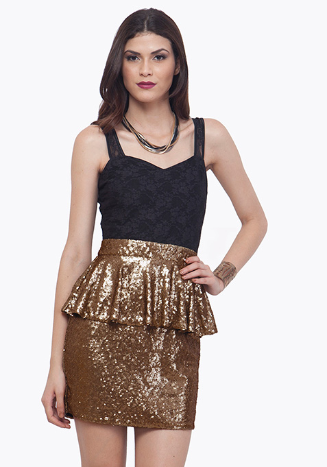 Sequin Sparkle Peplum Dress - Copper