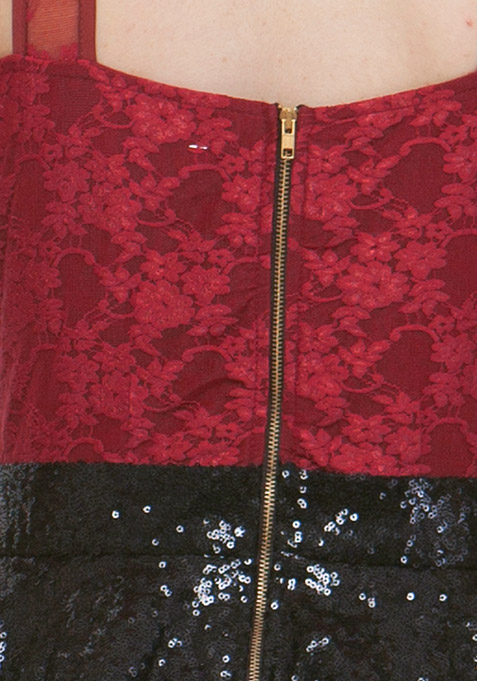 Sequin Sparkle Peplum Dress - Oxblood