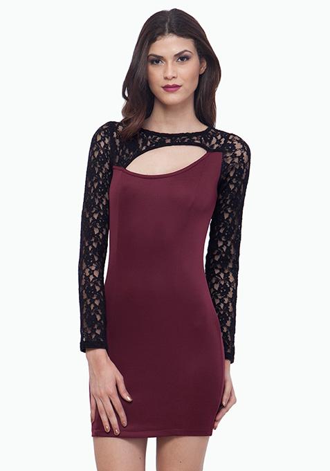 Lace Love Dress - Oxblood