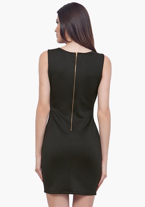 Panelled Sequin Dress - Black