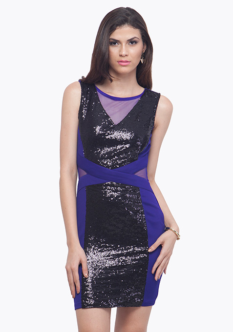 Panelled Sequin Dress - Blue