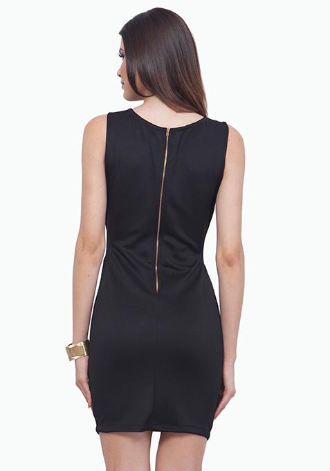 Panelled Sequin Dress - Copper