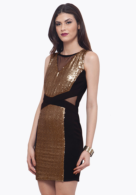 Panelled Sequin Dress - Copper