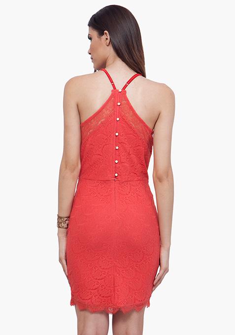 Coral Oomph Halter Dress
