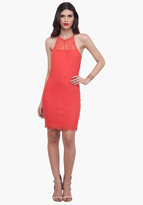 Coral Oomph Halter Dress