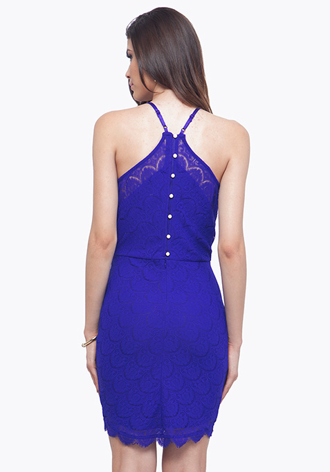 Cobalt Oomph Halter Dress