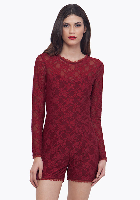Oxblood Lace Playsuit