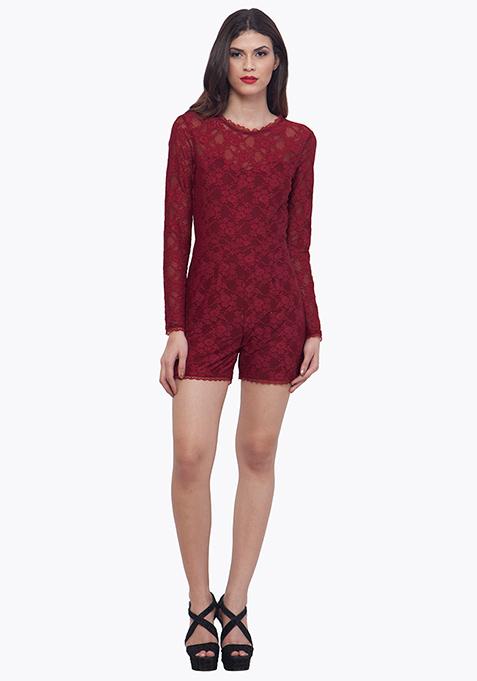 Oxblood Lace Playsuit