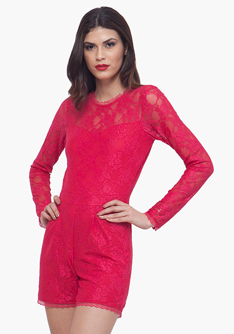 Pink Lace Playsuit
