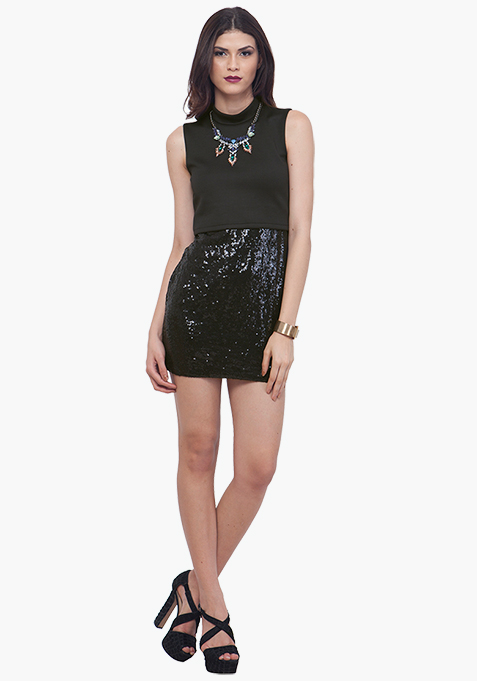 Crop Cool Bodycon Dress - Black