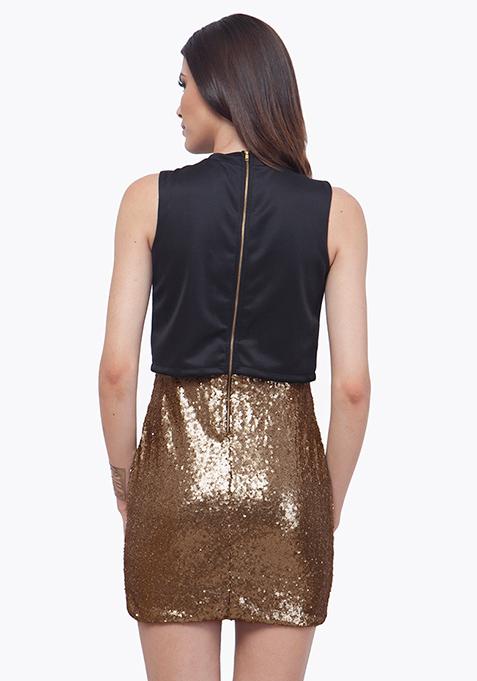 Crop Cool Bodycon Dress - Copper