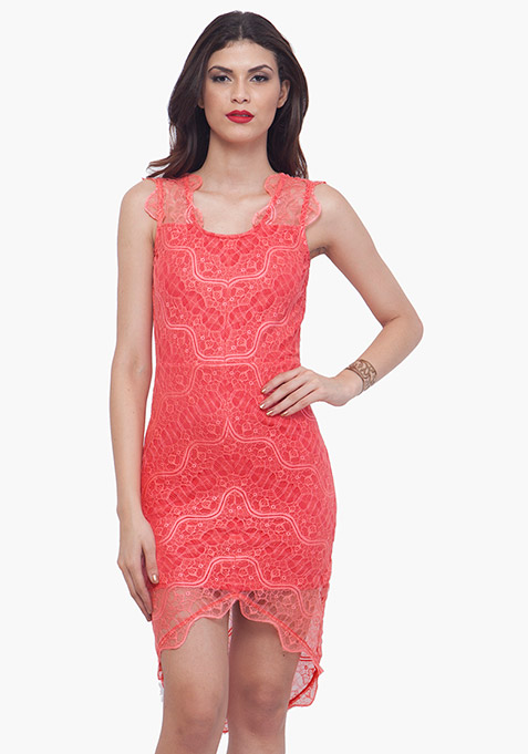 Coral High Low Lace Dress
