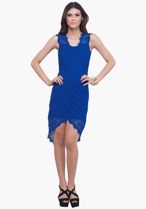 Blue High Low Lace Dress