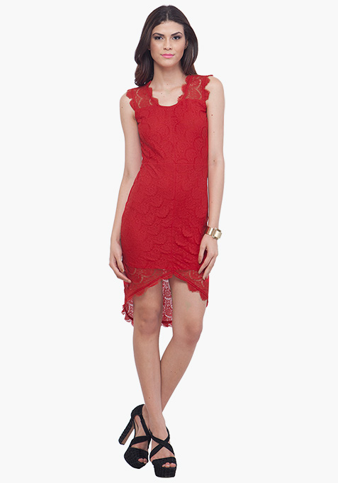 Red High Low Lace Dress